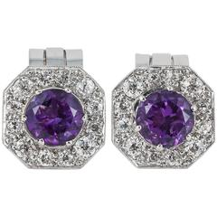 Amethyst Diamond Platinum Clip Earrings