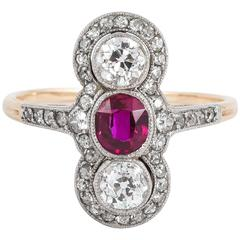 Edwardian Ruby Diamond Gold Platinum Ring
