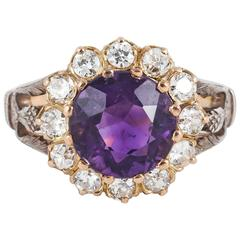 Edwardian Amethyst Diamond Gold Cluster Ring