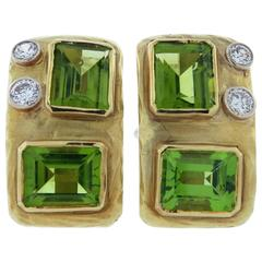 Modernist Design Peridot Diamond Gold Clip and Post Back Earrings