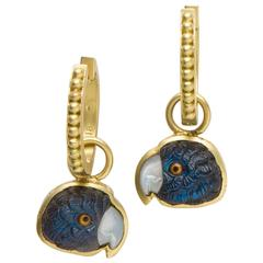 Blue Spectrolite Gold Hand Carved Parrot Earrings