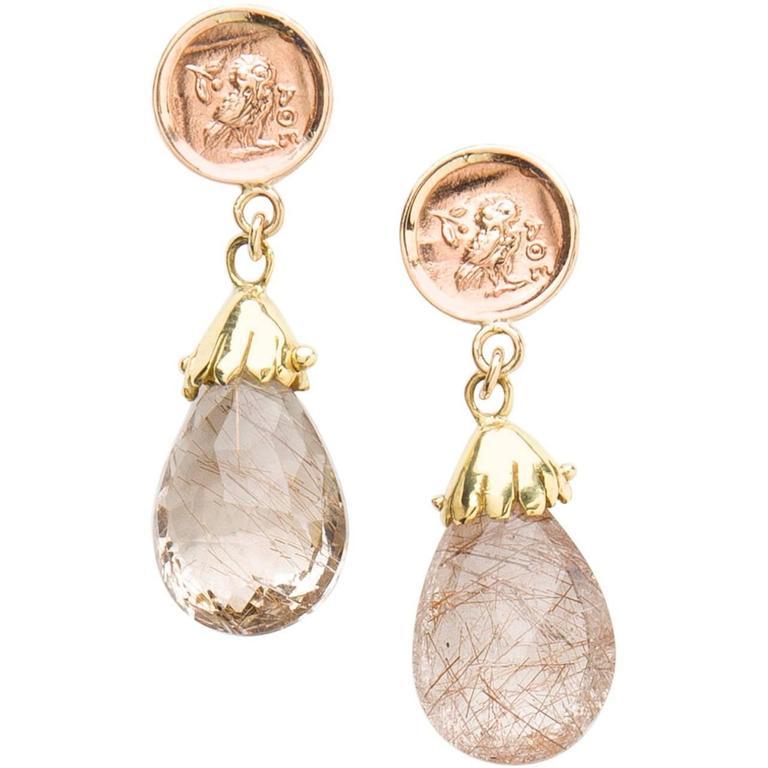 Rutilated Quartz Two Color Gold Drop Earrings