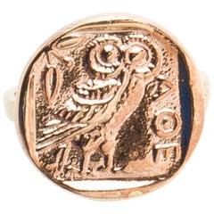 11 Karat Owl of Athena Wisdom Ring