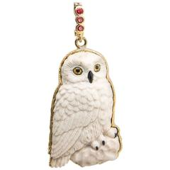 Owl Petrified Palm Pendant with Ruby Gold Enhancer