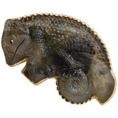 Spectrolite Gold Chameleon Pin