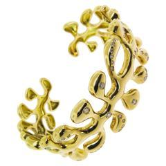 Gold Sea Leaf Cuff Bracelet with Diamond Accents