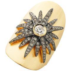 Diamond Gold Starburst Cigar Band Ring