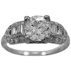 Antique Art Deco 1.12 Carat Diamond Platinum Engagement Ring