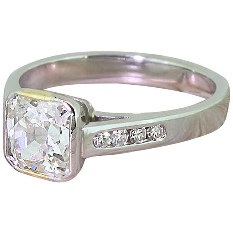 1 49 Carat Square Shaped Old Cut Diamond Platinum Engagement Ring For Sale at