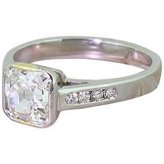 1.49 Carat Square Shaped Old Cut Diamond Platinum Engagement Ring