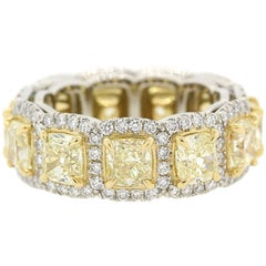 7.39 Carats Of Fancy Yellow Radiant & Round Cut Diamonds Eternity Band Ring