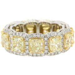 Fancy Yellow Radiant Cut Diamonds Gold Eternity Band Ring