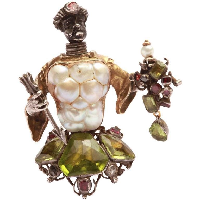 Antique Blackamoor Baroque Pearl Peridot Ruby Silver Gold Brooch