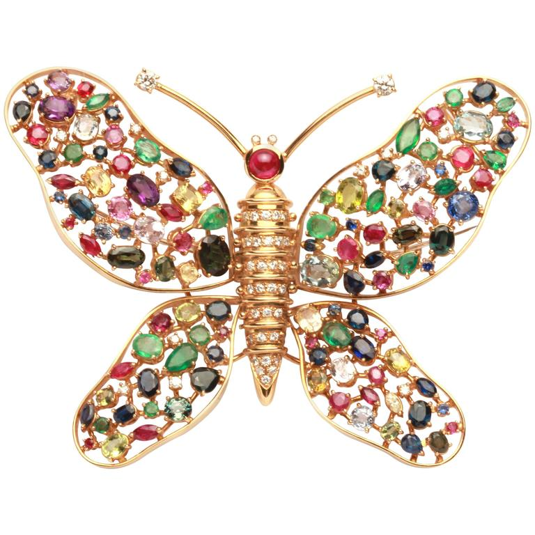 Impressive Sapphire Ruby Emerald Butterfly Brooch  For Sale