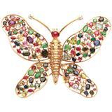 Impressive Sapphire Ruby Emerald Butterfly Brooch