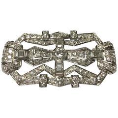 French Art Deco Diamond Platinum Brooch