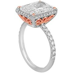 5.04 Carat Diamond Halo Two-Color Gold Ring