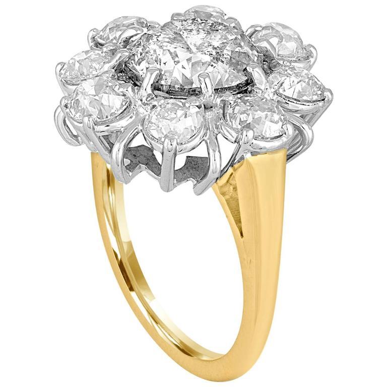 3.34 Carat Diamond Gold Platinum Flower Ring