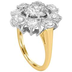 3.34 Carat Diamond Gold Platinum Flower Ring