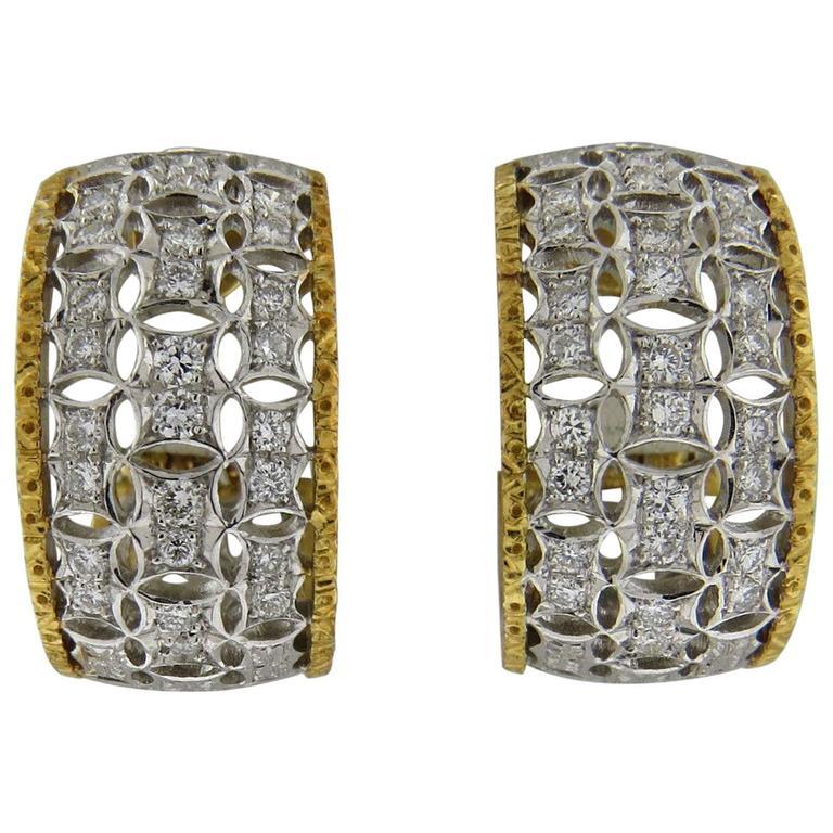 Mario Buccellati Diamond Gold Half Hoop Earrings