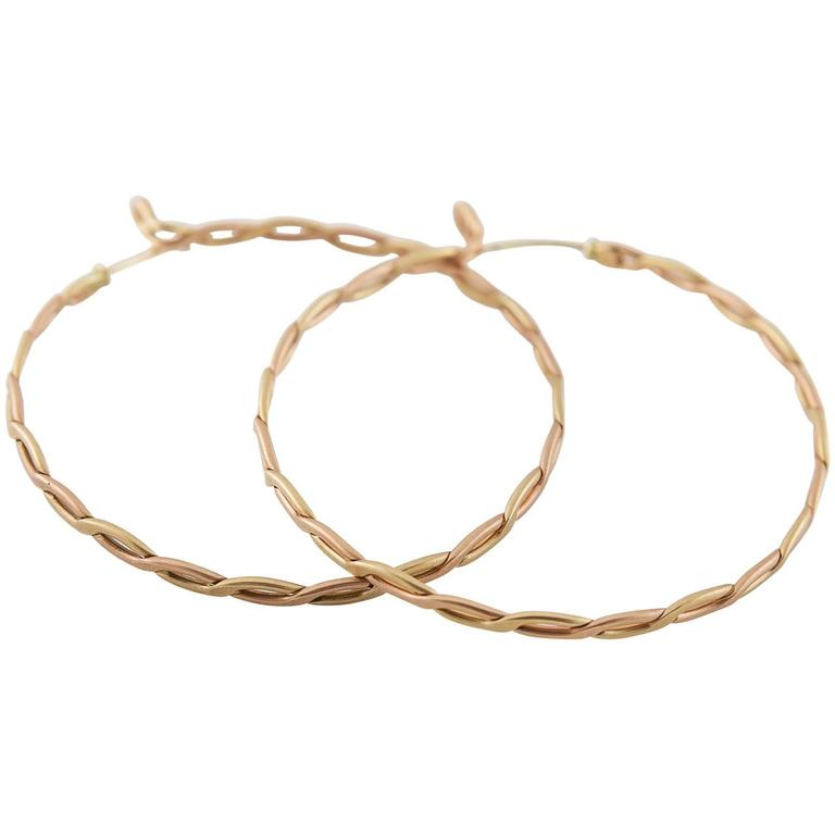 Spiral Woven Braided Gold Hoop Earrings For Sale