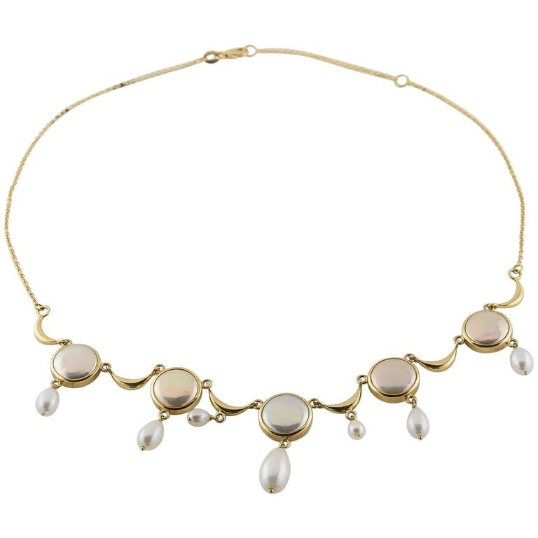 Coin and Fresh Water Pearl 18 Karat Gold Necklace