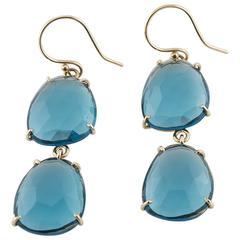Blue Topaz Rose Gold Drop Earrings