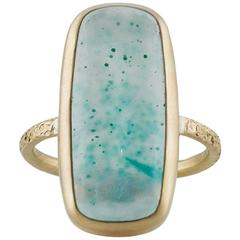 Large Cushion Silicated Green and Teal Chrysocolla Gold Ring