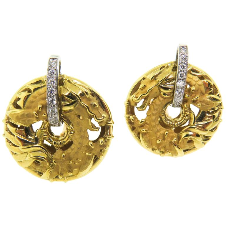 Carrera & Carrera Diamond Gold Shanghai Earrings