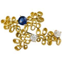 Paash Sapphire Diamond Gold Abstract Mid Century Modern Brooch Pin