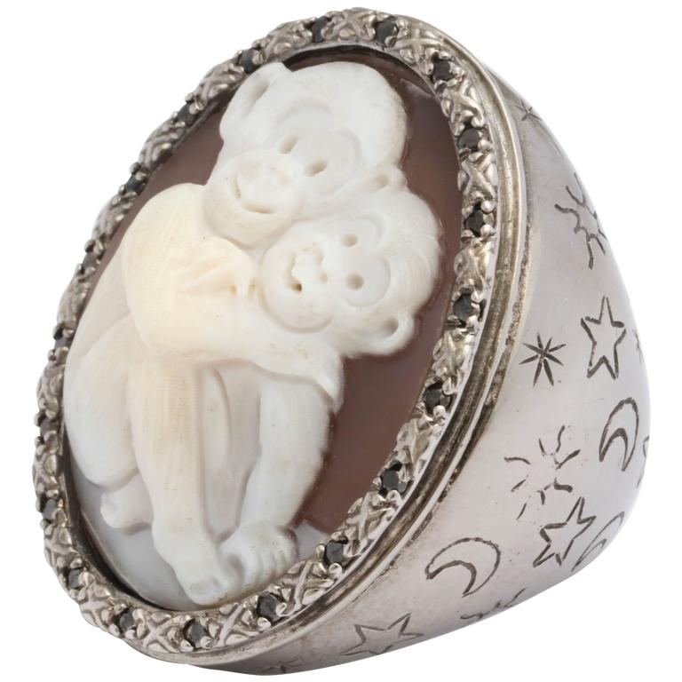 Amedeo Two Monkeys Cameo Ring