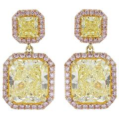 Fancy Yellow and Pink Diamonds Two Color Gold Drop Earrings