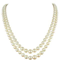 1950s Double Strand Japanese Cultured Pearl Necklace
