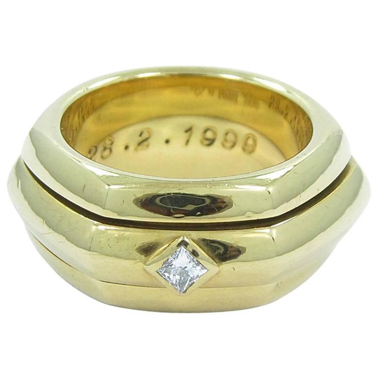 Piaget Rotating Center Band Princess Cut Diamond Gold Band Ring