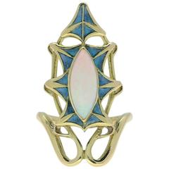 Rene Lalique Rare Art Nouveau Plique-a-Jour Gold Ring
