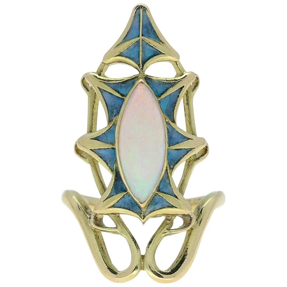 rene lalique nouveau plique a jour gold ring for