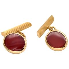 18 Karat Gold and Carnelian Cufflinks