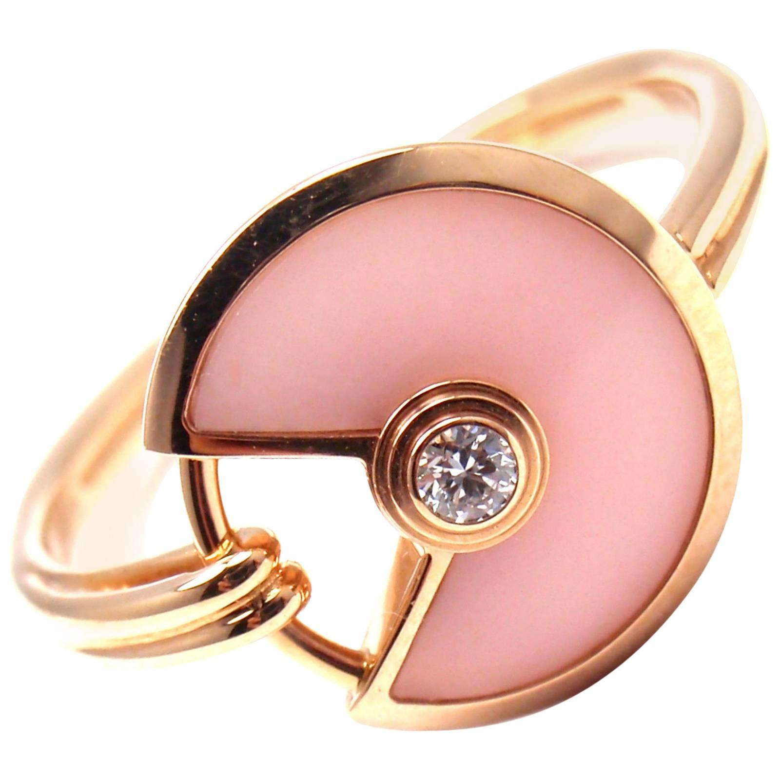 Cartier Amulette de Cartier Pink Opal Diamond Gold Ring For Sale at ...