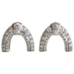 1930s Art Deco Diamond 18 Karat Gold Platinum Arch Double Clips