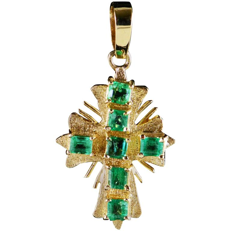 Emerald Gold Cross Pendant  For Sale