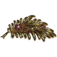 1960s Tiffany & Co. Ruby Diamond Gold Brooch