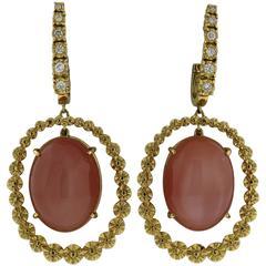 Beautiful Peach Moonstone Cabochon Diamond Gold Drop Earrings