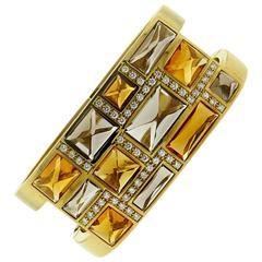 Rodney Rayner Impressive Gemstone Diamond Gold Bracelet