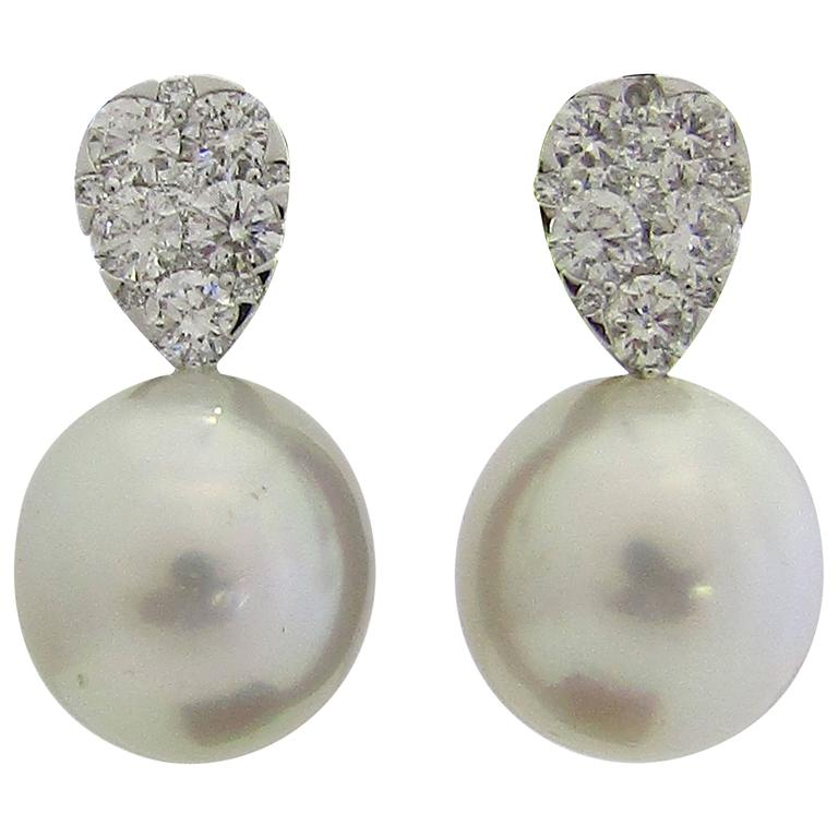 South Sea Pearl Diamond Drop Gold Earrings