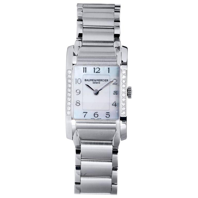 Baume & Mercier Stainless Steel Mother of Pearl Dial Hampton Quartz Wristwatch
