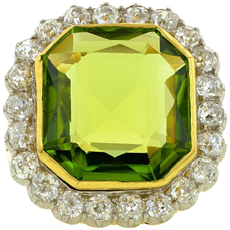 Antique Peridot Diamond Silver Gold Convertible Ring