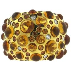 Rodney Rayner Citrine Cabochon Diamond Gold Dome Ring