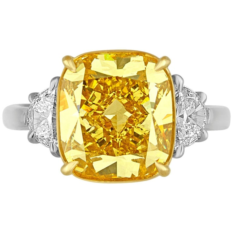 5.64 Carat Yellow Cushion Diamond Two-Color Gold Ring For Sale
