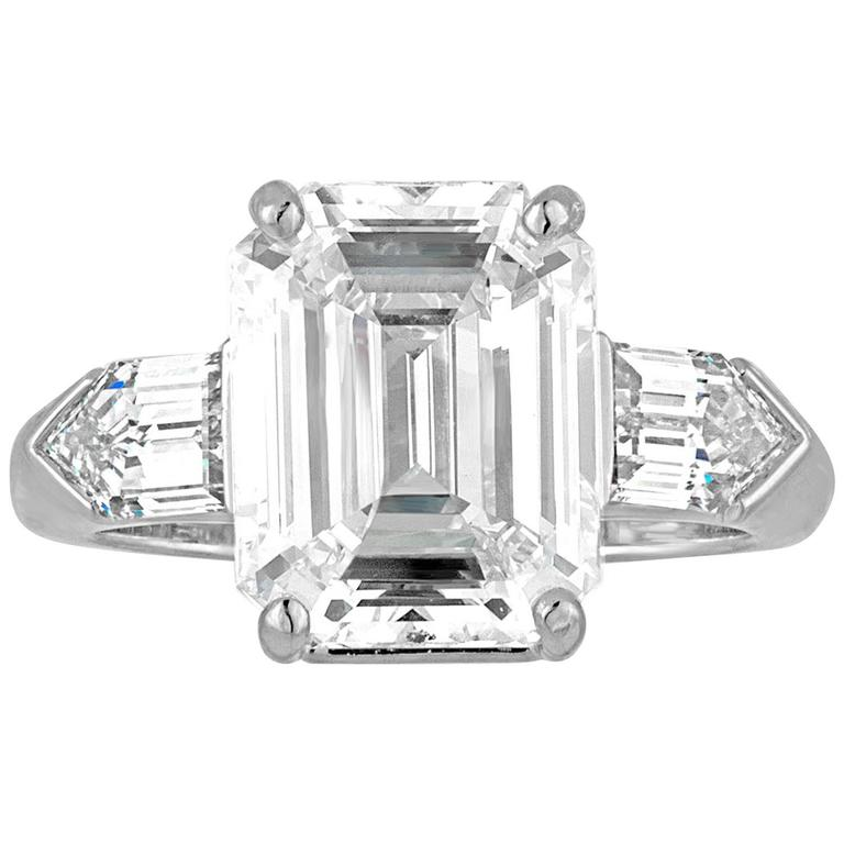5.38 Carat GIA Certified Emerald Cut Diamond Platinum Ring