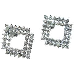 Diamond Platinum Double Frame Earrings